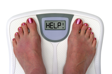 Feet on a bathroom scale with the word help! on the screen. Isolated.  Includes clipping path.